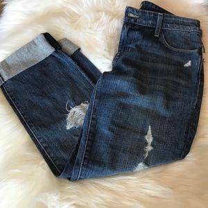 David Kahn Lana Jeans Crop Rolled Distressed